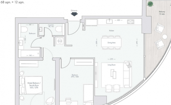 Sarona area 2 room 52sqm Terrace Park view Lift Apartment for sale in Tel Aviv